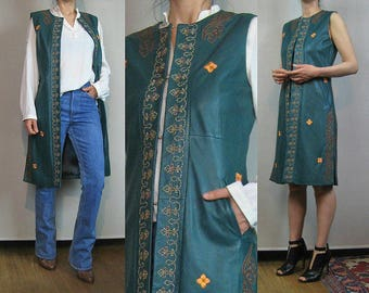 90s JADE BEADED LEATHER Vintage Embroidered 90s Does 70s Genuine Leather Green Folk Boho Vest Dress Sleeveless Coat Small s/m 1970s 1990s