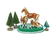 Vintage Miniature Horses / Ceramic Mare and Foals / 1960's Collectible / Gift for Miniature Collector / Horse Statues