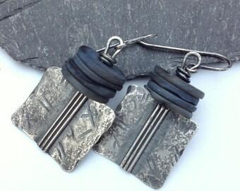 Sterling silver and shell earrings, oxidised silver Core earrings