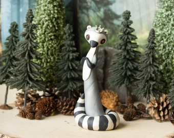 The Lemur Queen - Lemur Sculpture - Ring-tailed Lemur Figurine by Bonjour Poupette