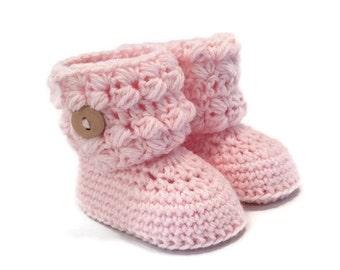 Girls Button Cuff Baby Boots in Pink Merino Wool