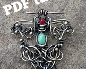 "PDF Tutorial Wire Wrapped Necklace Pendant ""Vine Tendrils""."