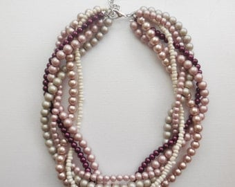 Wine berry mauve rose matte almond champagne braided twisted chunky bridesmaid bridal statement pearl necklace