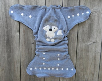 Upcycled  Wool Nappy Cover Diaper Cover Wool Wrap Cloth Diaper Cover One Size Fits Most Blue With Wolf Applique/ Black