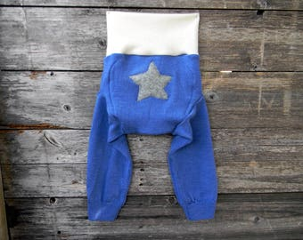 LARGE Hybrid Merino Wool Interlock Longies Soaker Cover Diaper Cover With Added Doubler Blue With Star Applique  12-24 M