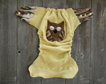 Upcycled  Wool Nappy Cover Diaper Wrap Cloth Diaper Cover One Size Fits Most Yellow With Owl Applique/ Brown