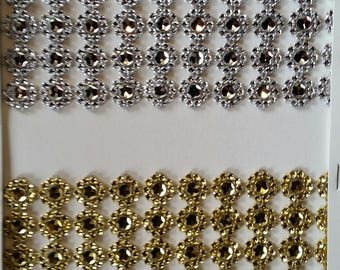 "Plastic stone bling mesh gold 4"" for party, decor, embellishments and more 10 yards WHOLESALE"