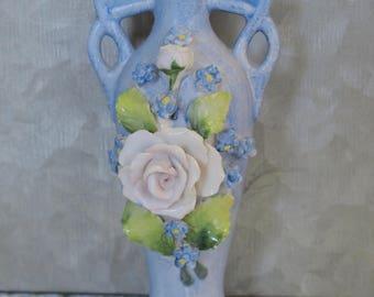 Vintage German Perfume Bottle Hand Painted Porcelain Art Nouveau Antique Crown Top Perfume Scent Bottle
