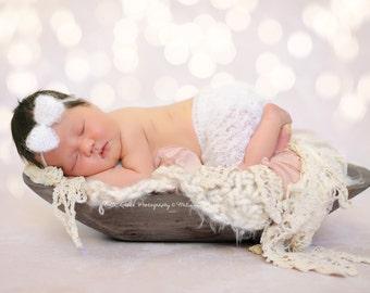 Cream White Mohair Skirt and Headband Set Newborn Baby Photography Prop