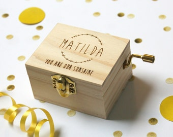 Personalised Music Box | Pine Laser Cut |  New Baby Gift Or Christening Gift | You Are My Sunshine | Worldwide Shipping