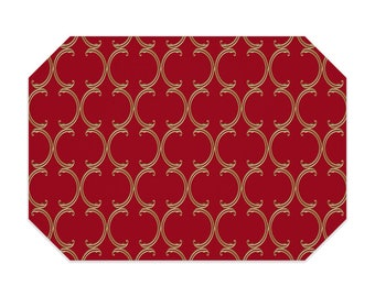 Red placemat, red placemats, faux gold Moroccan lattice pattern, cloth placemat, washable polyester fabric placemat, table linens