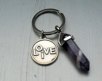 Live Love Keyring Amethyst Chakra Gemstone Pendant Key Chain