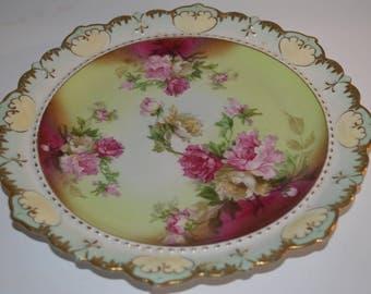 Antique Victorian porcelain plate - MZ Austria - roses - very beautiful