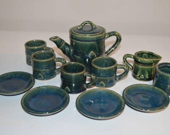Pottery tea set child sze - teapot creamer sugar cups and saucers glazed vintage