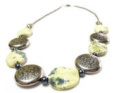 Yellow Serpentine Necklace, Yellow Turquoise and Gray Pearls, Pewter Necklace