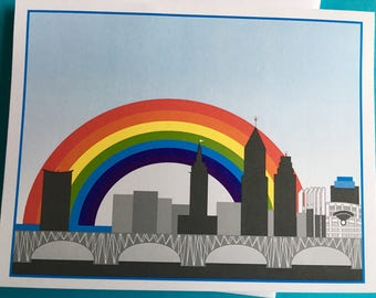 Rainbow Cleveland blank note card, Cleveland skyline with baseball field
