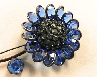 Fenichel Floral Brooch, Vintage Jewelry, Large Blue Rhinestone Brooch, Vintage Pin, Fenichel Jewelry, Vintage Flower Brooch, Mid Century Pin