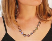 Coin Pearl necklace / Indigo Coin Pearl necklace / Purple Pearl necklace in Sterling Silver