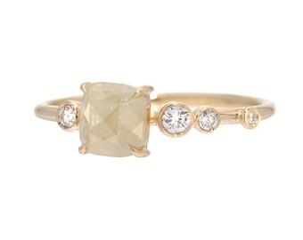 Rose Cut Diamond Ring, Rose Cut Diamond Engagement Ring, Cushion Cut Diamond Ring, Organic Ring, Unique Ring, Asymmetrical Ring, Nixin