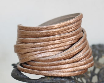 Multi-Strand Leather Cuff, Metallic Leather Wrap Cuff-Bracelet, Copper Genuine Leather