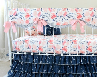 Pink and navy watercolor floral baby bedding , Watercolor Whispers girl crib bedding set , blush pink floral nursery bedding for baby girls