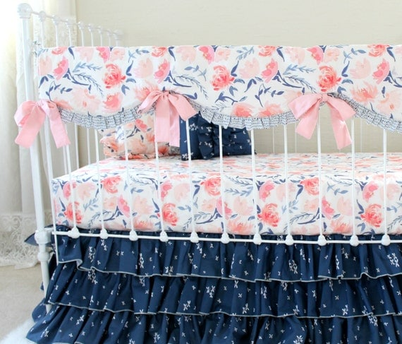 pink and navy watercolor floral baby bedding watercolor. Black Bedroom Furniture Sets. Home Design Ideas