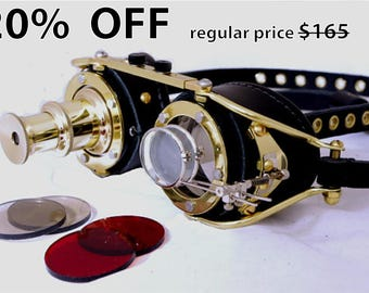 Steampunk Goggles Goth Theatrical Industrial Brass Telescopic Telescope Cosplay LARP All Black