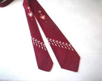 1940s 50s Swing Necktie Tie Jacquard Weave Greek Key & Labrys Axe Shield Design