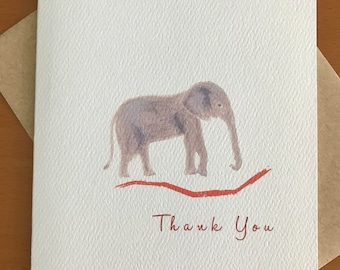 Giraffe and Elephant Safari Thank You Folded Note Card Set Safari Theme Children's Note Cards Party Zoo  Save the Elephants