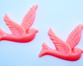 2PCS - Pink Resin Bird Cabochons 26x28mm  Jewelry Findings by ZARDENIA