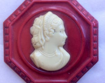 Vintage Celluloid Cameo Pin Brooch Ivory and Brick Red Hard Plastic 1930s Jewelry