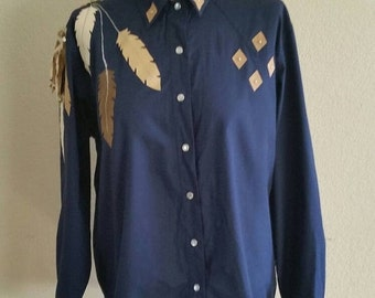 Sale 1970's South Western Blouse with Feather details, size 42/44 Bust, Large,  #63187