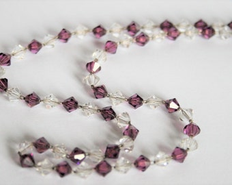 Vintage purple glass bead necklace.  Dainty necklace