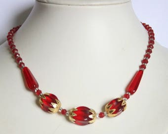 Vintage red glass bead necklace. Czech necklace