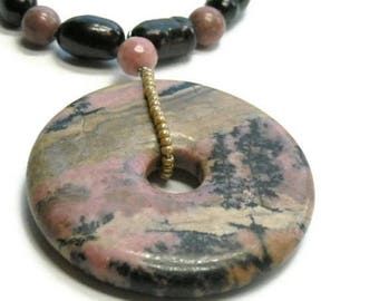 Sale| Rhodonite and Black Pearl Necklace, Desert Landscape Pendant, Zen, Sterling Silver, June Birthstone, Rhodonite Jewelry, Gemstone, Donu