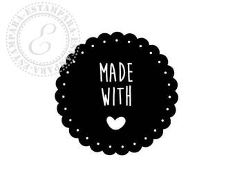 Made with love Stamp. Made with love Stempel. Sello made with love.