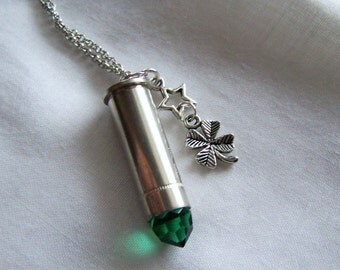 Green Crystal Good Luck Shamrock Bullet Jewelry Pendant