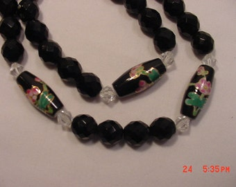 Vintage Black Glass Bead With Flower Design Necklace  16 - 664