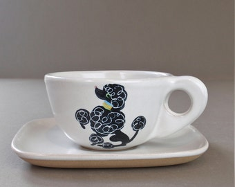 Vintage Glidden Poodle Cup and Saucer Dog Stoneware Pottery Dinnerware