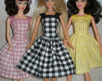 Handmade Barbie clothes -your choice- choose 1 - black, pink, yellow or green plaid dress
