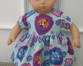 Dress for 15 inch dolls - blue paw patrol print fabric
