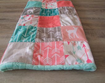 Arrow Minky Blanket - Coral Gray Aqua Nursery - Baby Girl Moose Blanket - Arrow Bedding  - Coral Mint Bedding -  Ships in 1-3 Business Days