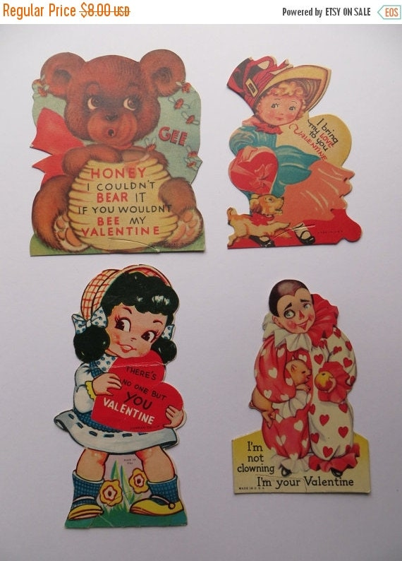 ON SALE Vintage Childrens Valentine Day Cards Lot-Ephemera-Mixed Media-Paper-Crafts-Scrap Booking