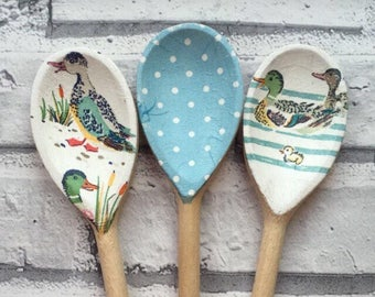 Decorative Decoupage Wooden Spoons using Cath Kidston Puddle Ducks design. FREE shipping to all UK addresses