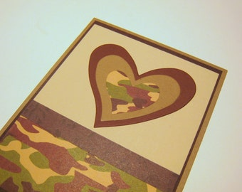Valentine or Love Card Masculine Camouflage Green and Brown Asymmetric Heart Blank Inside