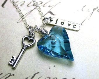 ON SALE Key to My Wild Heart Charm Necklace in Aqua Blue- Swarovski Crystal Heart and Sterling Silver Necklace in Aquamarine