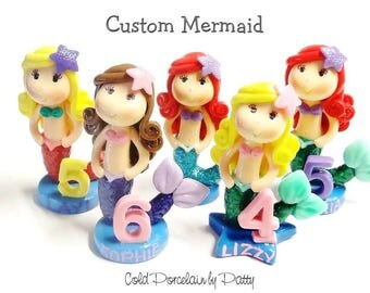 Custom Little Mermaid Cake Topper, Personalized Cold Porcelain Clay Mermaid Figurine, Under the Sea Birthday Cake Topper, Keepsake, Gift