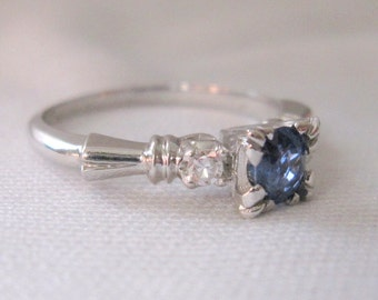 Vintage Mid-Century PLATINUM Engagement Ring with Natural Ceylon Sapphire and Diamond Accents Size 6