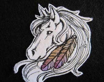 Horse Head With Feathers, Iron On Patch, Horse Patch, Horse Applique, Iron On Horse Patch