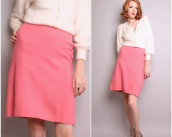 1960's Pink Wool Skirt / High Waisted 60's Skirt / Small